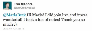 Teleclass Testimonial-Twitter-Mid-Career Freelancer-Jan2013-ErinMadrone